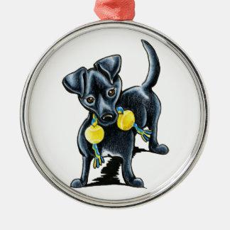 Pequeño perro negro Tucker Ornamento Para Reyes Magos