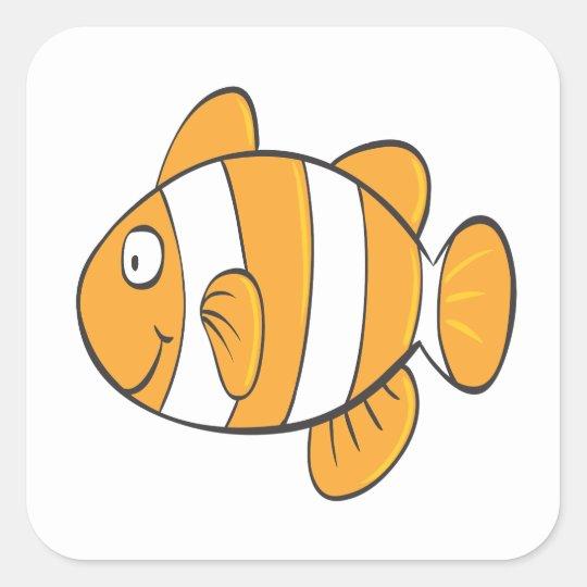 pequeño personaje de dibujos animados feliz lindo pegatina cuadrada