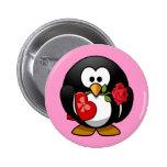 Pequeño pingüino animado lindo de la tarjeta del pin redondo de 2 pulgadas