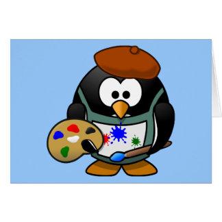 Pequeño pingüino animado lindo del pintor tarjeton