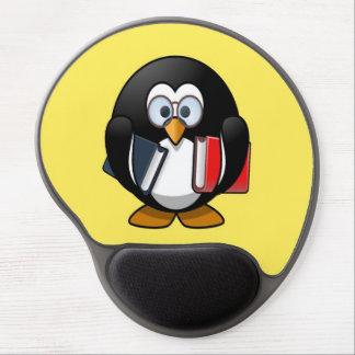 Pequeño pingüino animado lindo del ratón de biblio alfombrilla de raton con gel