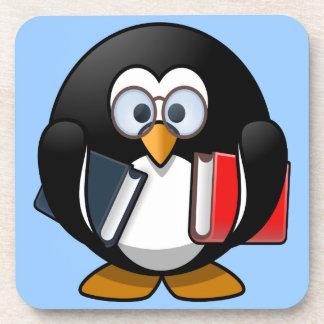 Pequeño pingüino animado lindo del ratón de biblio posavasos de bebidas