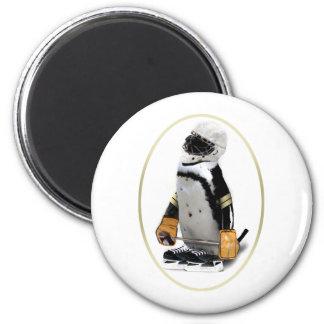 Pequeño pingüino del jugador de hockey de la masco imán redondo 5 cm