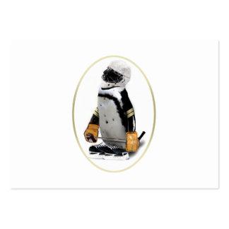 Pequeño pingüino del jugador de hockey de la masco tarjetas personales