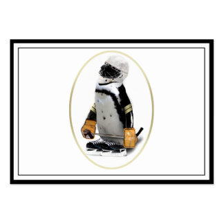 Pequeño pingüino del jugador de hockey de la masco tarjetas de visita