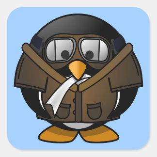 Pequeño pingüino experimental animado lindo pegatina cuadrada