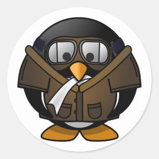 Pequeño pingüino experimental animado lindo pegatina redonda