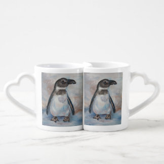 Pequeño pingüino frío taza amorosa