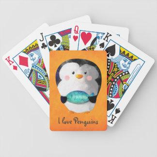 Pequeño pingüino lindo baraja cartas de poker