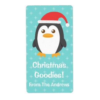 Pequeño pingüino lindo con el gorra de Santa para  Etiquetas De Envío