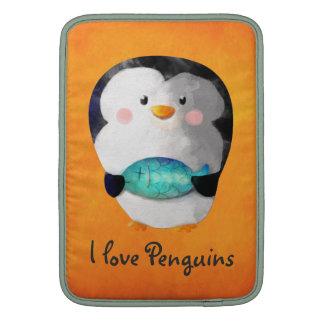 Pequeño pingüino lindo fundas macbook air