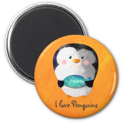 Pequeño pingüino lindo imán de frigorifico