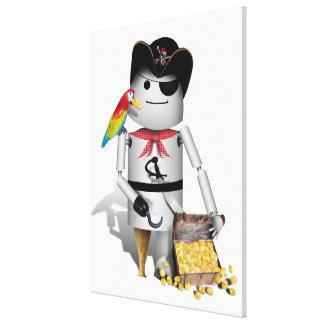 Pequeño pirata lindo del robot - Capt'n Robo-x9 Impresión De Lienzo