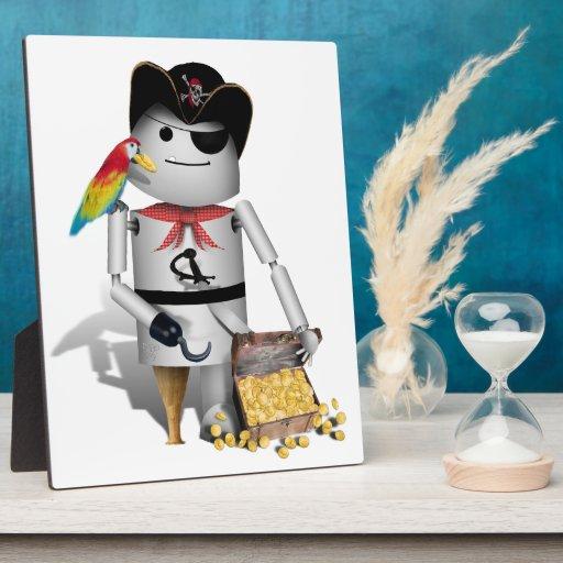 Pequeño pirata lindo del robot - Capt'n Robo-x9 Placas De Madera