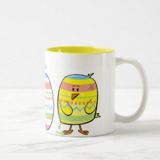 Pequeño pollo del artista taza de café de dos colores