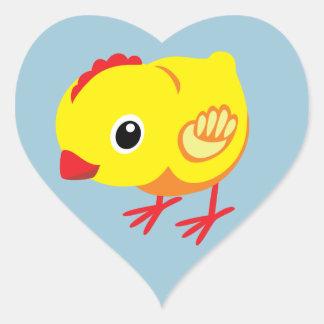 pequeño pollo pegatina en forma de corazón