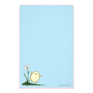 Pequeño polluelo feliz de Pascua en lunares azules Papeleria Personalizada