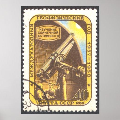 Pequeño poster - arte 1957 del sello de la astrono
