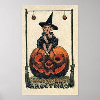 Pequeño poster de Halloween de la bruja del vintag
