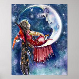 Pequeño poster de la bruja y de la luna