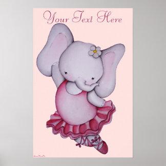Pequeño poster del elefante de la bailarina para l