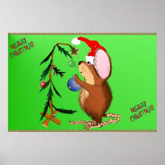 Pequeño poster del ratón del navidad