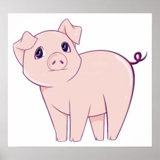 Pequeño poster lindo del arte del cerdo