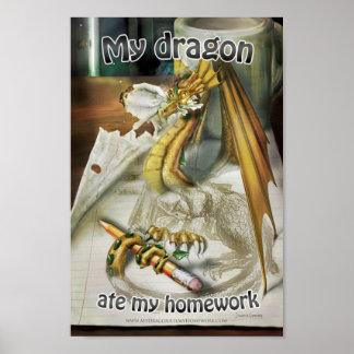 Pequeño poster - mi dragón comió mi preparación +  póster