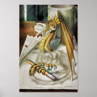 Pequeño poster - mi dragón comió mi preparación póster