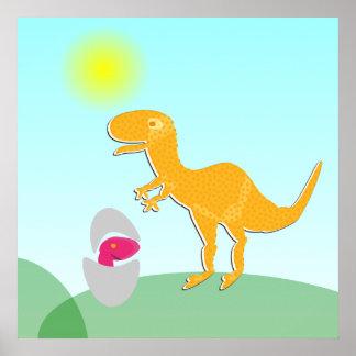 Pequeño poster rosado anaranjado del huevo de Dino