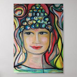 Pequeño poster sonriente de Buda