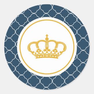 Pequeño príncipe Crown Sticker del azul real Pegatina Redonda