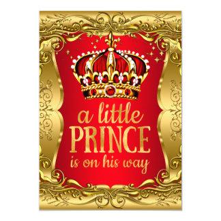 """Pequeño príncipe en su rojo del oro de la fiesta invitación 5"""" x 7"""""""