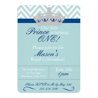 """Pequeño príncipe First Birthday Invitation Invitación 5"""" X 7"""""""