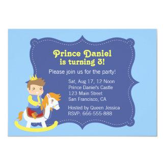 """Pequeño príncipe lindo, caballo de madera, invitación 4.5"""" x 6.25"""""""