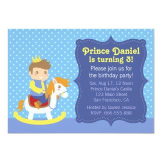 """Pequeño príncipe lindo, caballo de madera, invitación 5"""" x 7"""""""