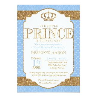 "Pequeño príncipe Royal Light-blue Gold Birthday Invitación 5"" X 7"""
