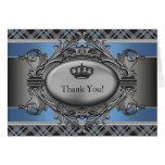 Pequeño príncipe Thank You Cards de la corona azul Tarjeton