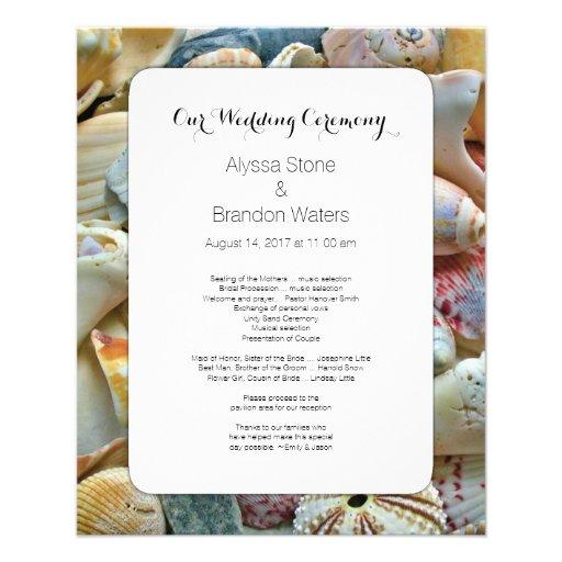 Pequeño programa del boda del Seashell del boda de Flyer A Todo Color