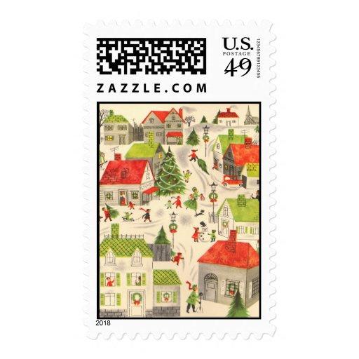 Pequeño pueblo del navidad sellos