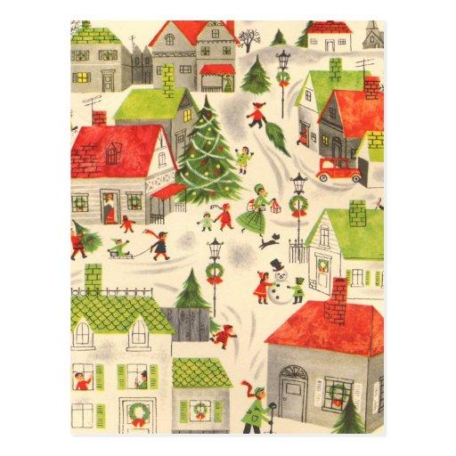 Pequeño pueblo del navidad postal