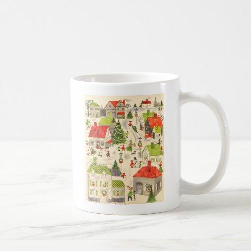 Pequeño pueblo del navidad taza de café