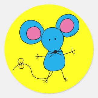 Pequeño ratón azul lindo pegatina redonda