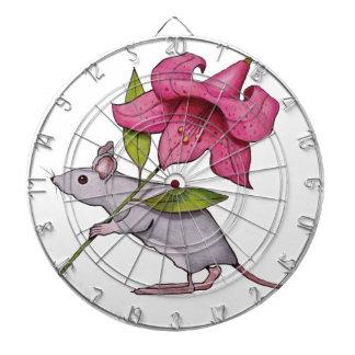 Pequeño ratón con la flor grande Lirio arte Tablero De Dardos