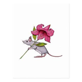 Pequeño ratón con la flor grande: Lirio, arte Postales