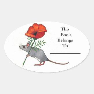 Pequeño ratón con la flor grande: Placa de libro Pegatinas Ovaladas Personalizadas