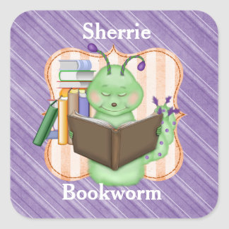 Pequeño ratón de biblioteca verde pegatina cuadrada