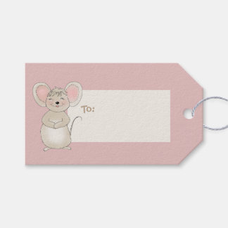 Pequeño ratón feliz etiquetas para regalos