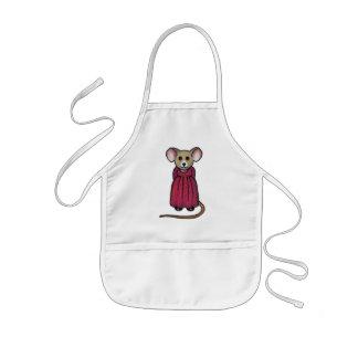 Pequeño ratón Grande-Espigado lindo con el vestido Delantal Infantil