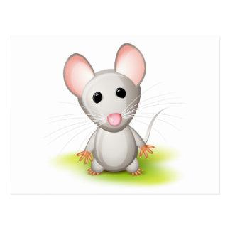 Pequeño ratón gris tarjetas postales